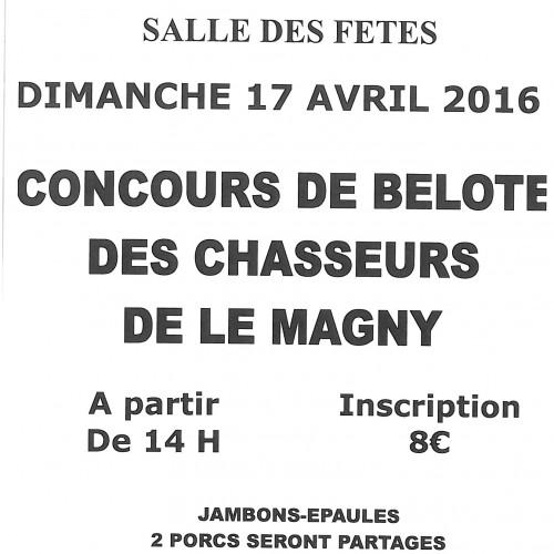 concours de belote des chasseurs de le Magny Dimanche 17 avril -14h Centre socio culturel E.C.L.A.M.