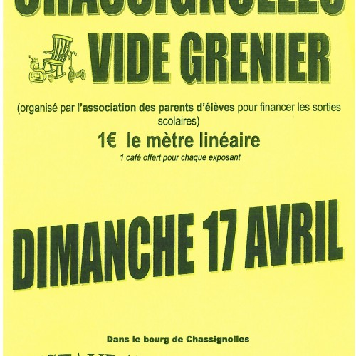 VIDE GRENIER ASSOCIATION DES PARENTS D'ELEVES LE MAGNY-CHASSIGNOLLES LE 17 AVRIL 2016
