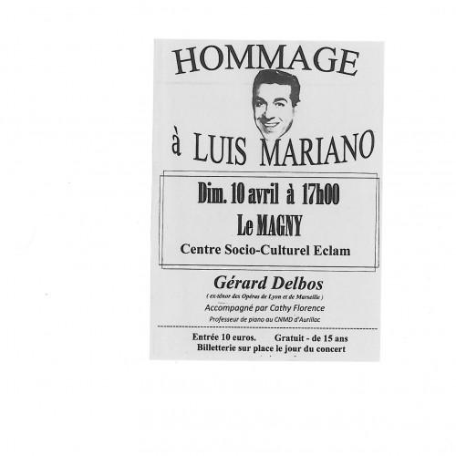 HOMMAGE A LUIS MARIANO DIMANCHE 10 AVRIL -17 H CENTRE SOCIO CULTUREL E.C.L.A.M.