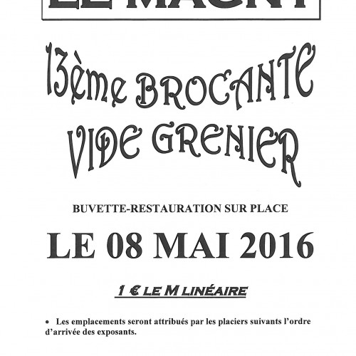 13ème BROCANTE-VIDE GRENIER LE 8 MAI