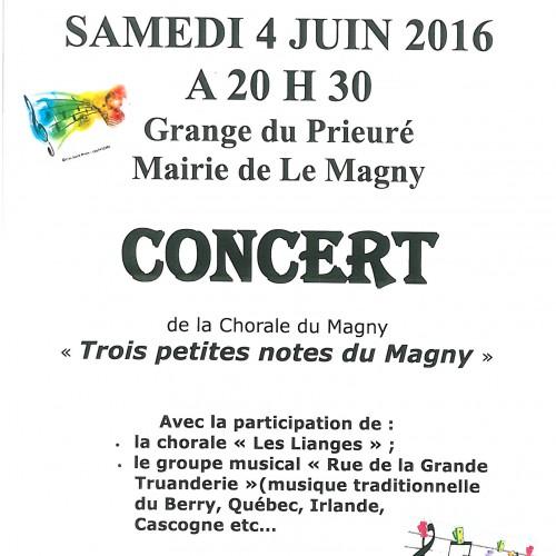 """concert """"TROIS PETITES NOTES DU MAGNY"""" SAMEDI 04 JUIN 20 H 30 GRANGE DU PRIEURE"""