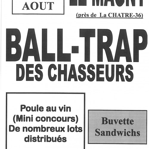 BALL-TRAP DES CHASSEURS LE DIMANCHE 28 AOUT 2016