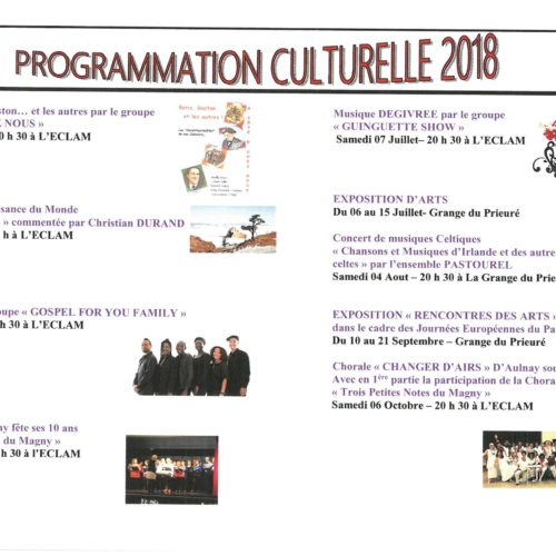 PROGRAMMATION CULTURELLE 2018