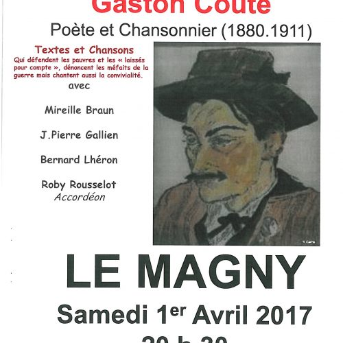 """Dans la pure tradition du Cabaret """"UNE HEURE AVEC GASTON COUTE"""" le 1er Avril 2017 à L'ECLAM"""