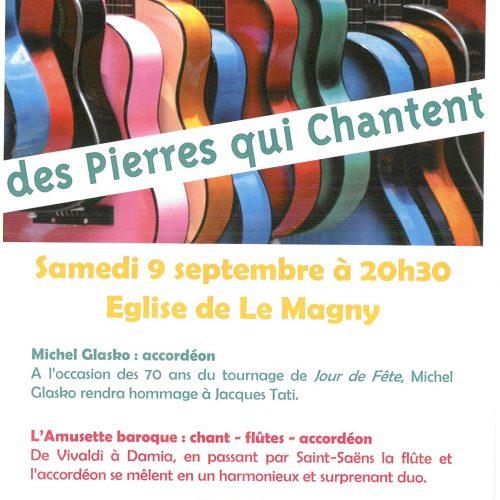 FESTIVAL DES PIERRES QUI CHANTENT SAMEDI 09 SEPTEMBRE A 20h30 Eglise Le Magny