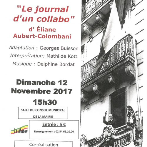 "LECTURE THEATRALISEE ""Le Journal d'un collabo"" d'Eliane Aubert-Colombani"