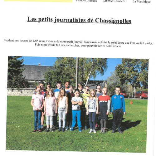 "RPI CHASSIGNOLLES-LE MAGNY ""LES PETITS JOURNALISTES DE CHASSIGNOLLES"""