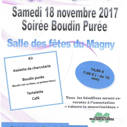 LE MAGNY SOUFFLE POUR L'ESPOIR-SAMEDI 18 NOVEMBRE SOIREE BOUDIN PUREE