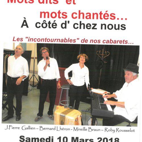 """SPECTACLE MOTS DITS ET MOT CHANTES A COTE D'CHEZ NOUS """"Les Incontournables"""" de nos cabaret le SAMEDI 10 MARS 20 H 30"""