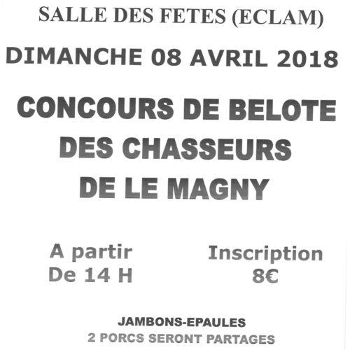 CONCOURS DE BELOTE LE 8 AVRIL à 14 h 00