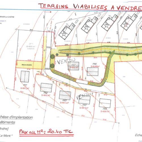 """TERRAINS VIABILISES A VENDRE AU LOTISSEMENT """"LE MONT"""" PRIX AU M² : 20.40 € TTC"""