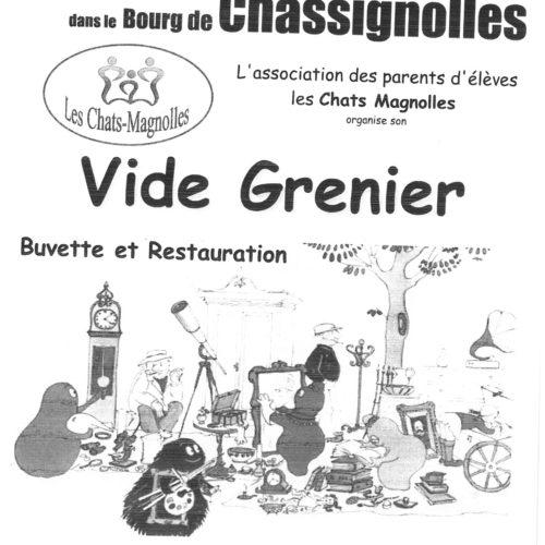 """VIDE GRENIER A CHASSIGNOLLES LE DIMANCHE 15 AVRIL """"ASSOCIATION DES PARENTS D'ELEVES """""""