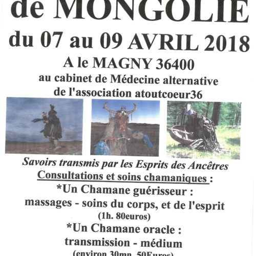 """CHAMANES DE MONGOLIE DU 7 AU 9 AVRIL 2018 AU CABINET DE MEDECINE ALTERNATIVE """"Le Magny"""""""