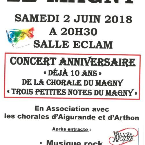 """CONCERT ANNIVERSAIRE """"DEJA 10 ANS"""" de la CHORALE DU MAGNY"""" """"Trois petites notes du Magny"""""""