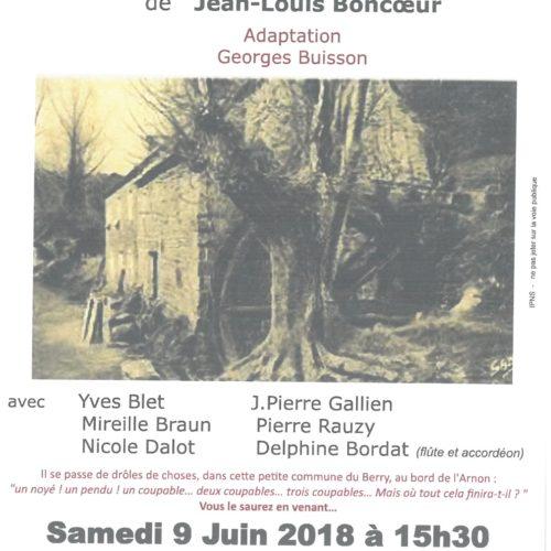 """LECTURE THEATRALISEE ET RADIOPHONIQUE """"LE MOULIN DE LA VIEILLE MORTE"""" de Jean-Louis BONCOEUR"""