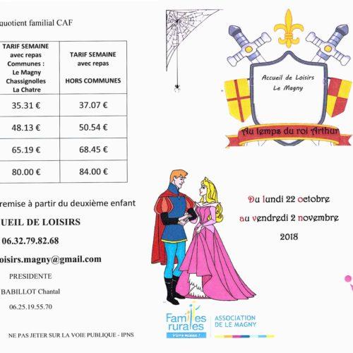 """PLANNING ACCUEIL DE LOISIRS """"PETITES VACANCES DU Lundi 22 Octobre au 2 Novembre 2018"""""""