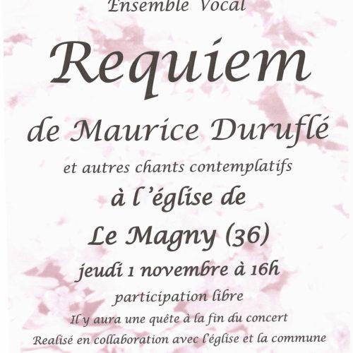 """LA VOIE MELODIEUSE- ENSEMBLE VOCAL """"REQUIEM DE MAURICE DURUFLE"""" JEUDI 1ER NOVEMBRE A 16H"""