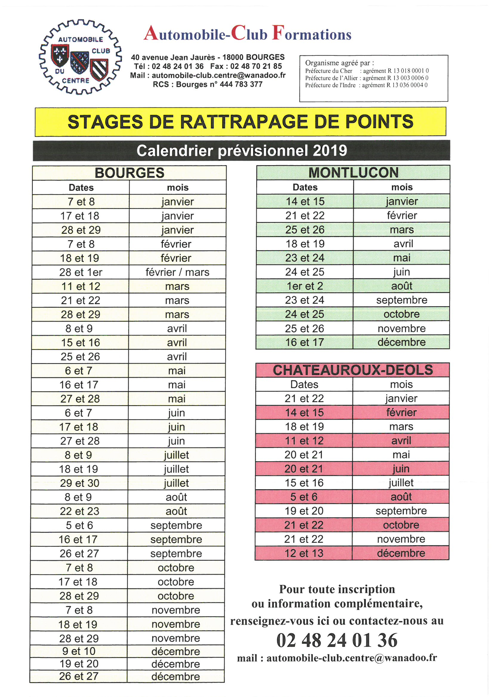 Calendrier Avril Mai Juin 2019.Calendrier Previsionnel 2019 Rattrapage De Pointscalendrier