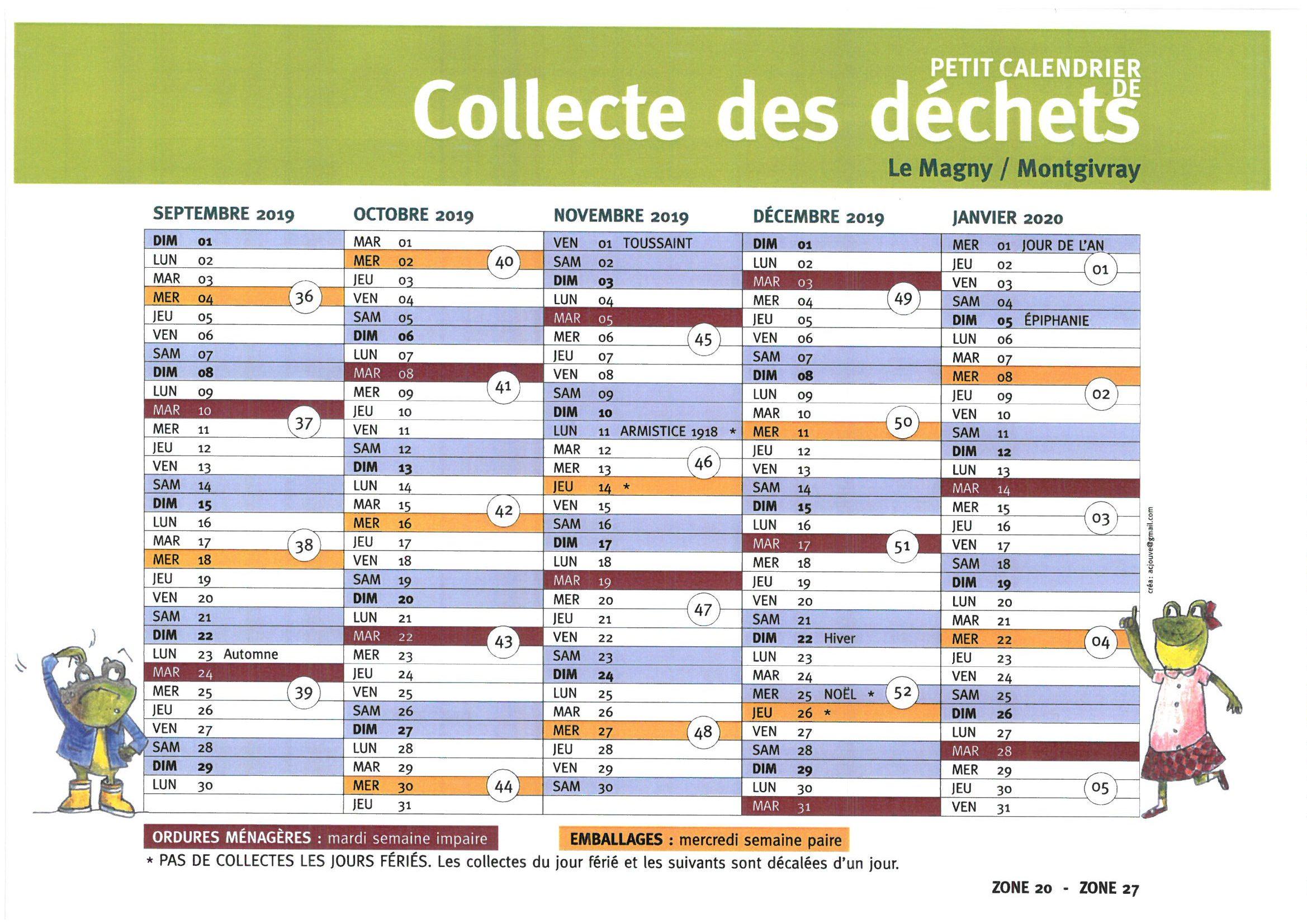 Calendrier Eboueur 2020.Nouveaux Calendrier Collecte Des Dechets Septembre 2019 A