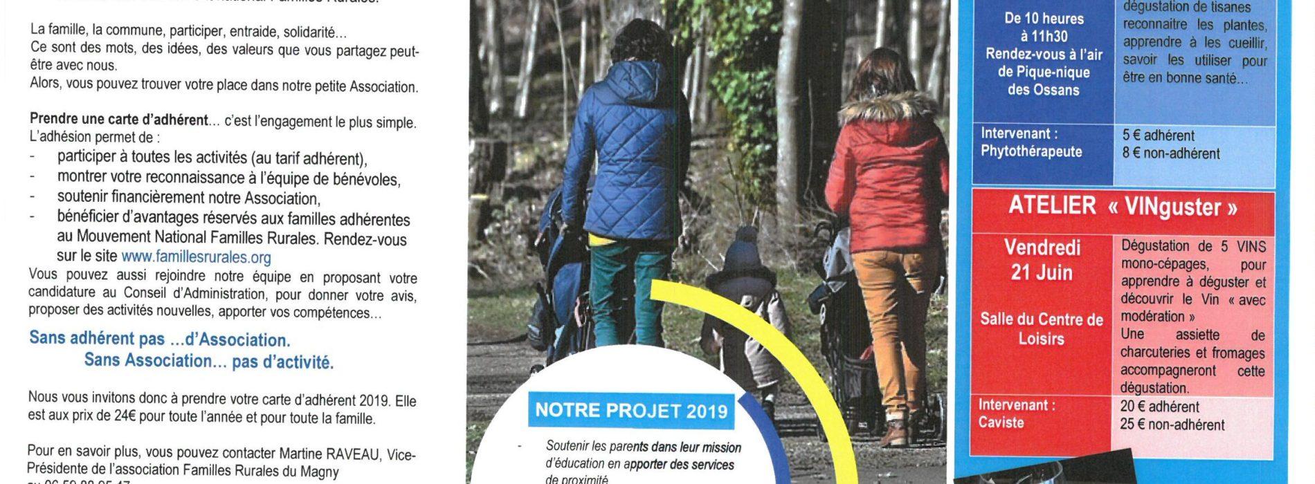 PROGRAMME D ACTIVITES POUR LE 1ER SEMESTRE 2019 FAMILLES RURALES LE MAGNY