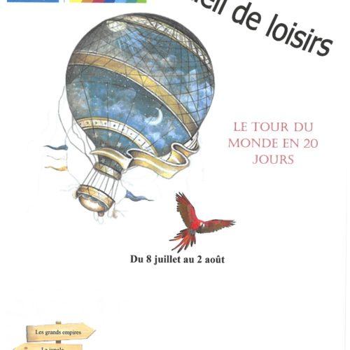 """ACCUEIL DE LOISIRS DU 8 JUILLET AU 2 AOUT 2019 """" LE TOUR DU MONDE EN 20 JOURS"""""""