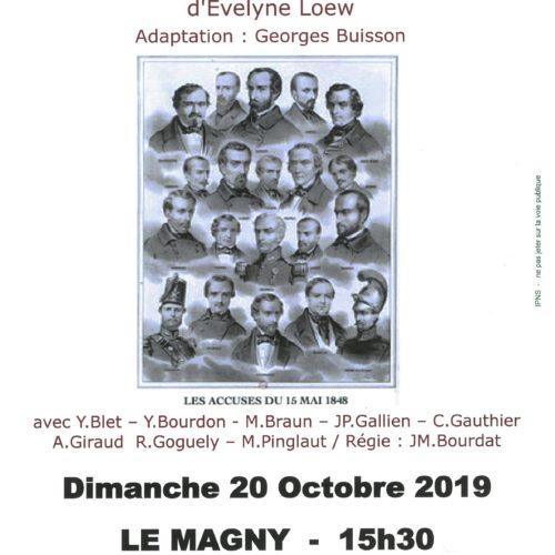 """LECTURE THEATRALISEE """"LE PROCES D'UN GRAND REVE"""" DIMANCHE 20 OCTOBRE 2019-15H30"""