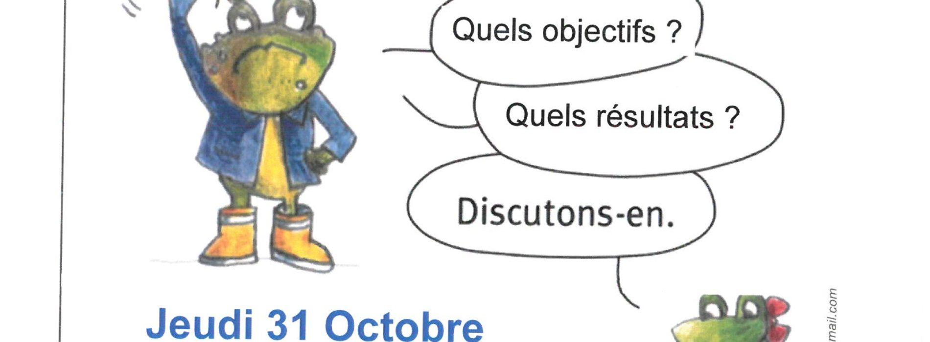 """REUNION  D INFO """"PREMIER BILAN APRES 6 MOIS"""" JEUDI 31 OCTOBRE à 18H00 L'ECLAM LE MAGNY"""