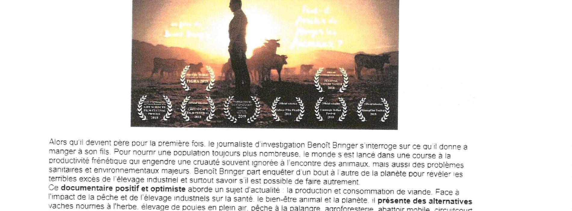 FILM FAUT IL ARRETER DE MANGER DES ANIMAUX JEUDI 7 NOVEMBRE 20H15 CENTRE SOCIO CULTUREL ECLAM