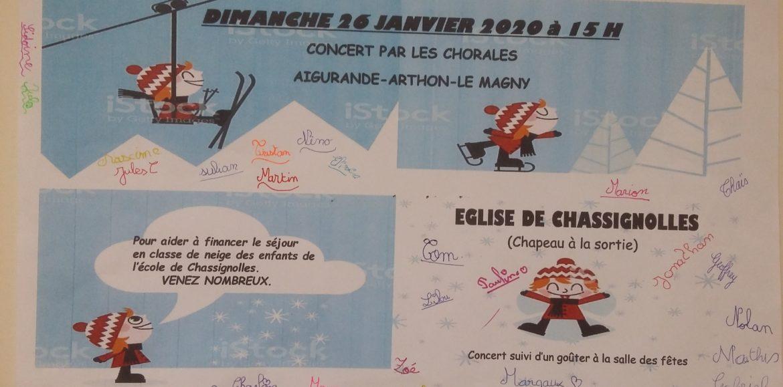 DIMANCHE 26 JANVIER A 15H CONCERT EGLISE DE CHASSIGNOLLES