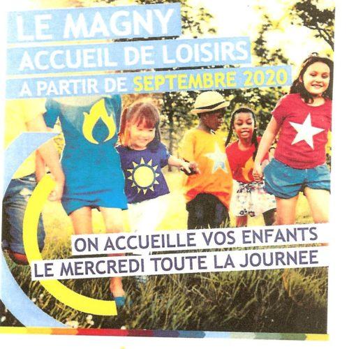 LE MAGNY ACCUEIL DE LOISIRS A PARTIR DE SEPTEMBRE (LE MERCREDI TOUTE LA JOURNEE)