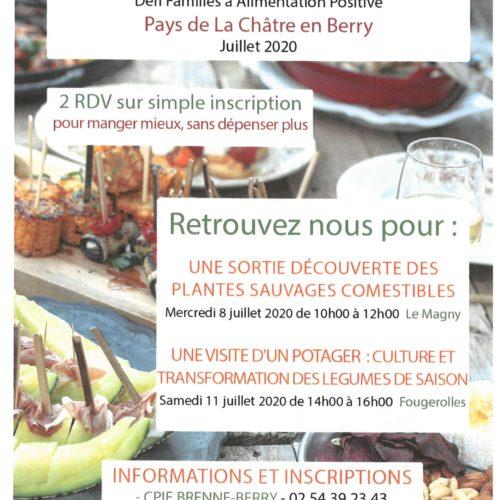 MANGEONS MIEUX ! Défi Familles à Alimentation Positive Pays de La Châtre en Berry Juillet 2020