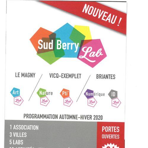 SUD BERRY LAB 'PROGRAMMATION AUTOMNE-HIVER 2020 et JOURNEE PORTE OUVERTE 26 SEPTEMBRE  de 14h-18h Briantes/Vicq Exemplet et Le Magny