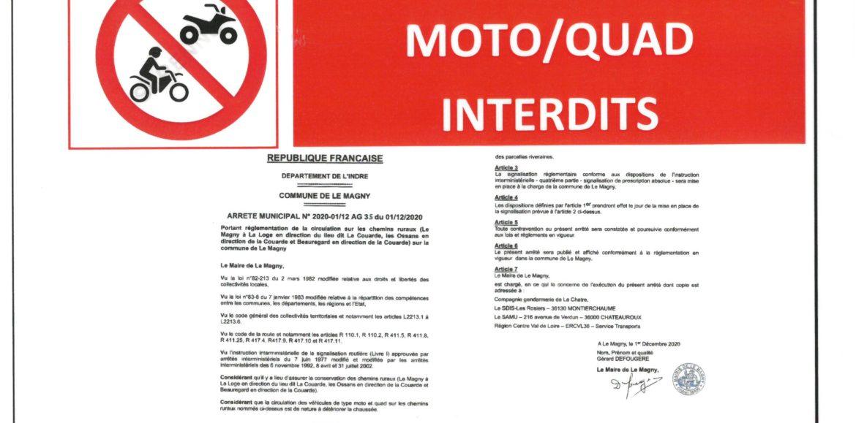 ARRETE DE CIRCULATION SUR LES CHEMINS RURAUX INTERDICTION POUR LES MOTOS ET QUADS